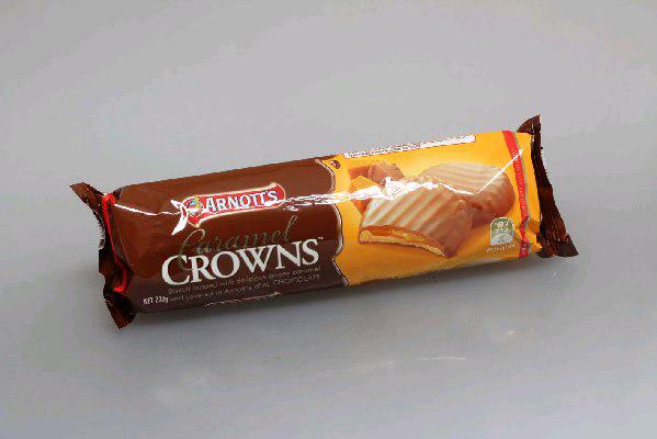 Arnotts chocolate caramel crowns - 200g thumbnail