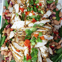 3 pepper chicken breast with mixed pea and bean salad thumbnail