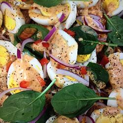 Roasted sweet potato and free range egg salad thumbnail