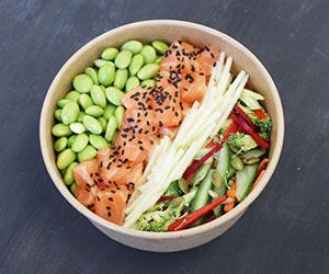 Salmon sahimi and brown rice poke bowl thumbnail