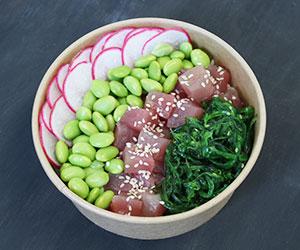 White rice and tuna sashimi poke bowl thumbnail
