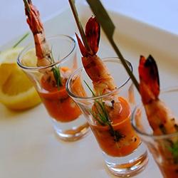 Garlic roasted prawn with romesco and micro herbs thumbnail