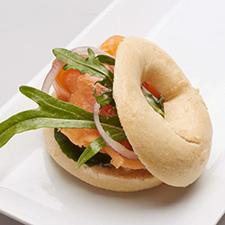 Bagel with smoked salmon and cream cheese - mini thumbnail