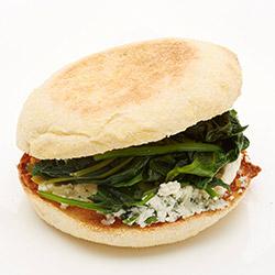 Sauteed spinach, leek and ricotta english muffin sandwich thumbnail