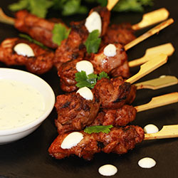 Tandoori marinated chicken kebabs thumbnail