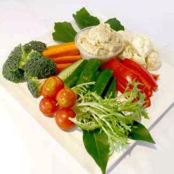 Vegetable crudites and hummus dips platter thumbnail
