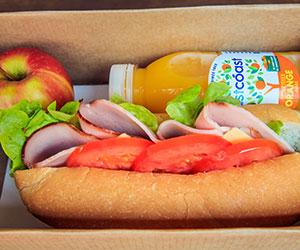 Sandwich, fruit and juice box thumbnail