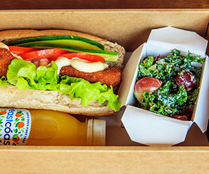 Sandwich, salad and juice box thumbnail