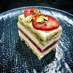 Strawberry, cream and pistachio slice - mini thumbnail