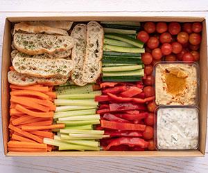 Vegetable crudities and dips platter thumbnail