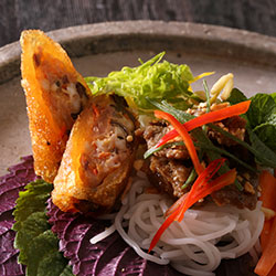 Honey grilled pork and crispy spring rolls vermicelli noodle thumbnail