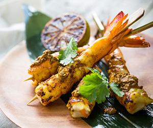 Malaysian prawn satay skewer thumbnail