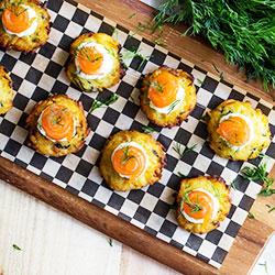 Cured salmon dill creme fraiche on potato rosti - mini thumbnail
