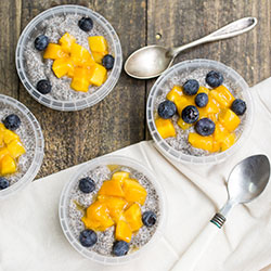 Black Chia bowl with coconut, mango and almond milk thumbnail