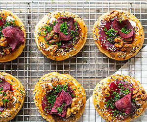 Chilterns tart with beetroot, caramelized onion, feta and candied walnut thumbnail
