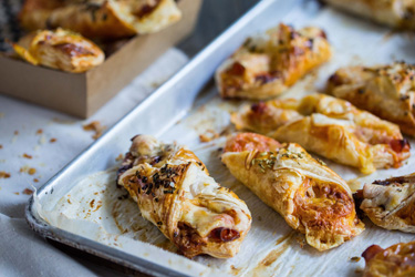 Savoury croissant filled with double smoked ham, cheddar cheese and tomato - large thumbnail