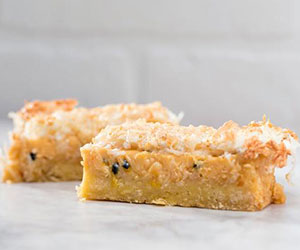 Lemon passionfruit coconut slice thumbnail
