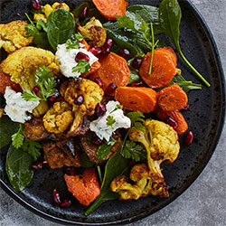 Roasted cauliflower, carrot and pomegranate salad thumbnail