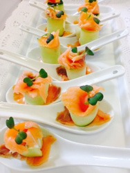 Smoked salmon and cucumber forks with lemon zest, yoghurt and chives thumbnail