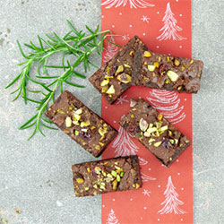 Chocolate, pistachio and cranberry brownie thumbnail