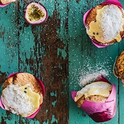 Pineapple, passionfruit and coconut muffins thumbnail