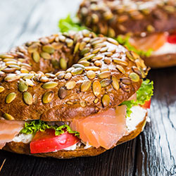 Assorted filled bagels thumbnail