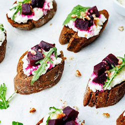 Goat cheese, beetroot, honey and walnut crostini thumbnail