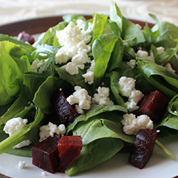 Watercress, beetroot, goat cheese and walnut salad thumbnail