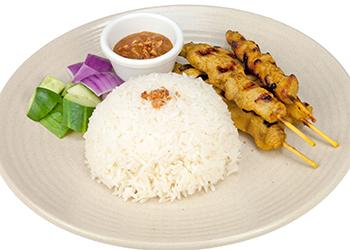 Chicken satay with jasmine rice thumbnail