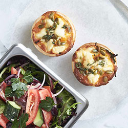 Homemade gourmet quiche with our village salad thumbnail