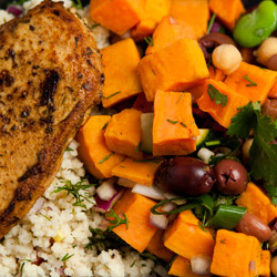 Chicken breast, lentil salad, sweet potato salad and sweets package thumbnail