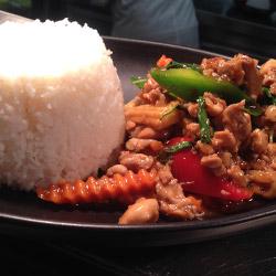 Kai Ka Pow with steamed rice thumbnail