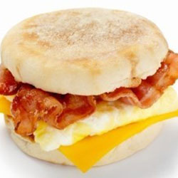 Bacon and egg in a English muffin thumbnail
