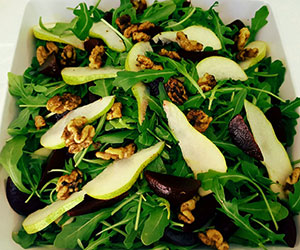 Beetroot pear rocket and walnut salad thumbnail