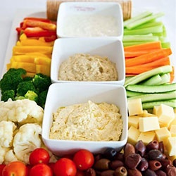 Vegetable crudities and dips platter - serves 15 to 20 thumbnail