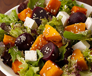 Pumpkin, beetroot and feta salad thumbnail