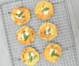Zucchini and corn fritter cakes thumbnail
