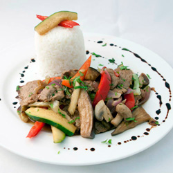 Beef stir fry with steamed rice thumbnail