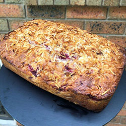 Raspberry, white chocolate and coconut loaf thumbnail