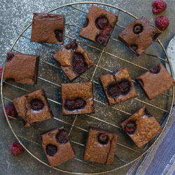 Chocolate, almond and raspberry brownie slice thumbnail