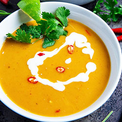 Thai pumpkin soup with coconut cream soup - serves up to 20 thumbnail