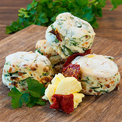 Semi-dried tomato and spinach savoury scone thumbnail