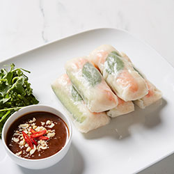 Prawn and Vietnamese herbs rice paper rolls thumbnail