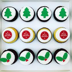 Traditional Christmas cupcake box thumbnail