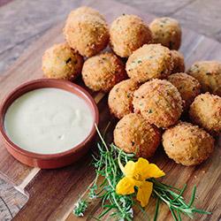 Basil pesto arancini balls with aioli sauce thumbnail