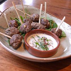 Sumac, pinenuts, lamb koftas with pomegranate and mint yoghurt  thumbnail