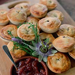 Gourmet beef and Guinness pie with tomato relish thumbnail