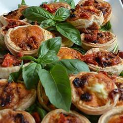 Basil pesto and sundried tomato quiche thumbnail