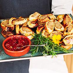 Pork, thyme and sage sausage rolls with tomato relish thumbnail