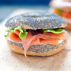 Smoked salmon, caper berries and cream cheese bagel thumbnail